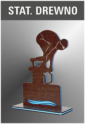 statuetki drewniane, warstwowe z plexi, trofy